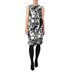 Phase Eight - Black and White karen tie waist jacquard dress