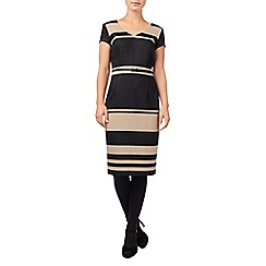 Phase Eight - Black and camel lucy stripe dress