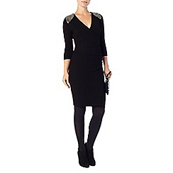 Phase Eight - Black mariana embellished shoulder wrap dress