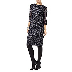 Phase Eight - Navy and Ivory textured lace spot dress