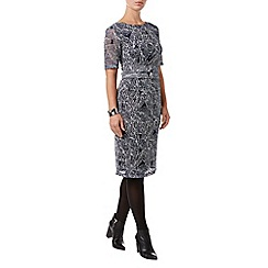 Phase Eight - Navy and Ivory leaf print lace dress