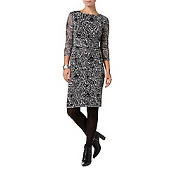 Phase Eight - Black and Ivory leaf print lace dress