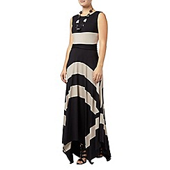 Phase Eight - Black and Mocha wide stripe maxi dress