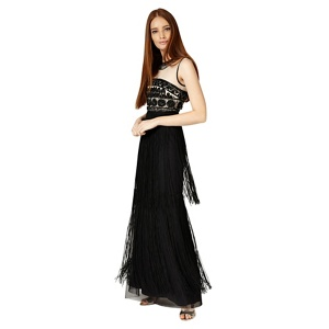 Phase Eight Black and champagne elizabeth fringe full length dress