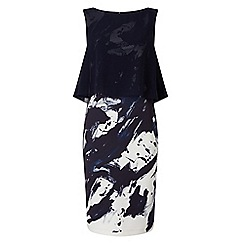 Phase Eight - Navy and ivory della layered dress