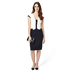 Phase Eight - Navy And Ivory Elaina Peplum Dress