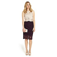 Phase Eight - Champagne and dark garnet coralie lace dress