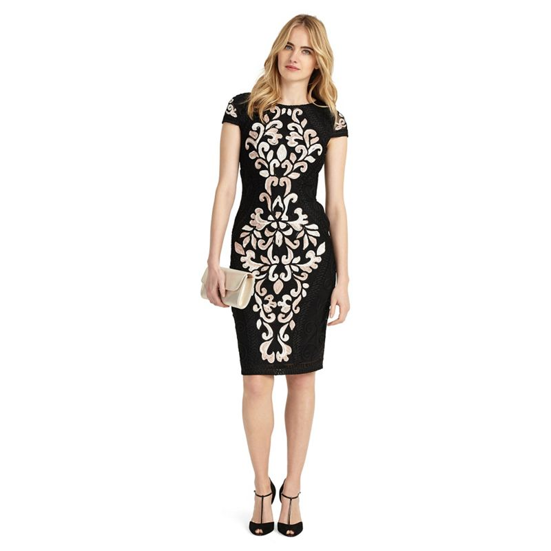 Phase Eight Black perdy tapework dress