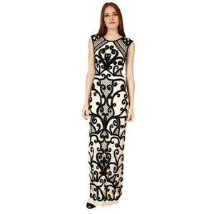 Phase Eight Black and cream erla tapework dress
