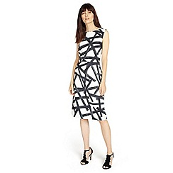 Phase Eight - Ivory and Black bea brush stroke dress