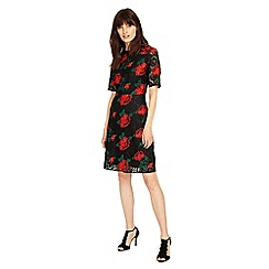 Phase Eight - Black and Red rose embroidered lace dress