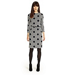 Phase Eight - Navy and Ivory spot jacquard dress