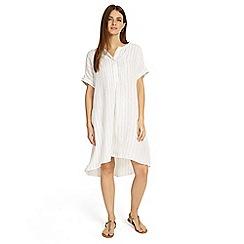 Phase Eight - Cream gabriella stripe linen shirt dress