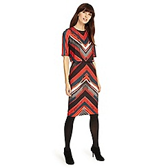 Phase Eight - Multicolored 'Beverly' brush stroke stripe dress