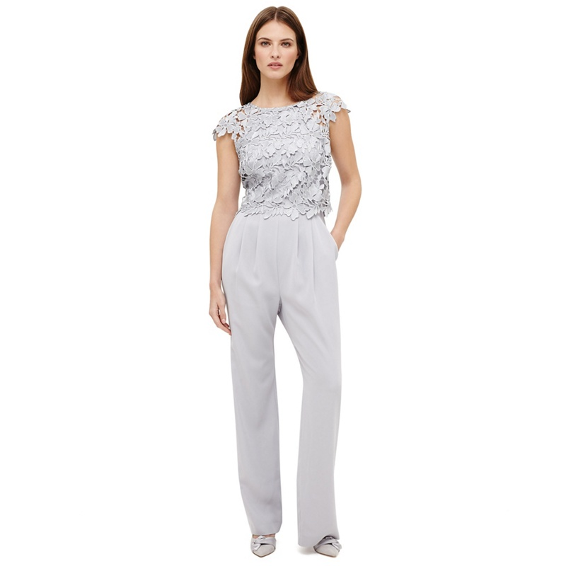 7e17bb28c064 Phase Eight - Grey Nieve Lace Bodice Jumpsuit