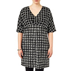 Studio 8 - Sizes 16-24 Black and white tamara check tunic dress