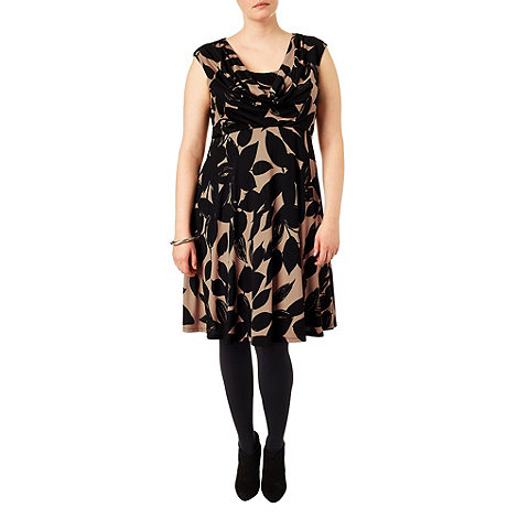 Studio 8 - Sizes 16-24 Black and camel joey floral dress