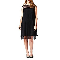 Studio 8 - Sizes 16-24 Black fiamma fringe dress