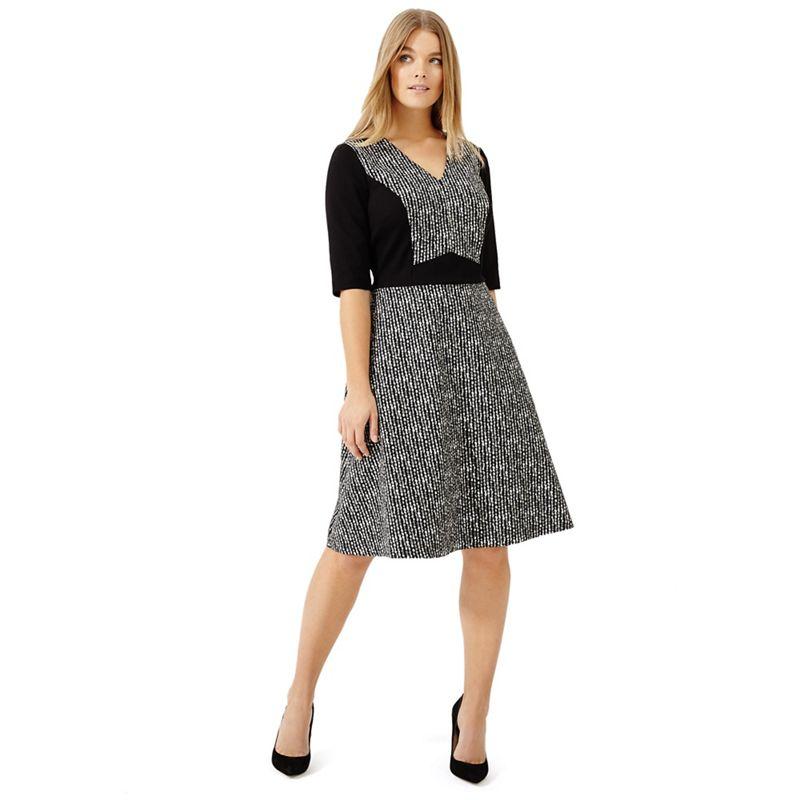 Studio 8 - Sizes 12-26 Black And White Albany Jacquard Dress