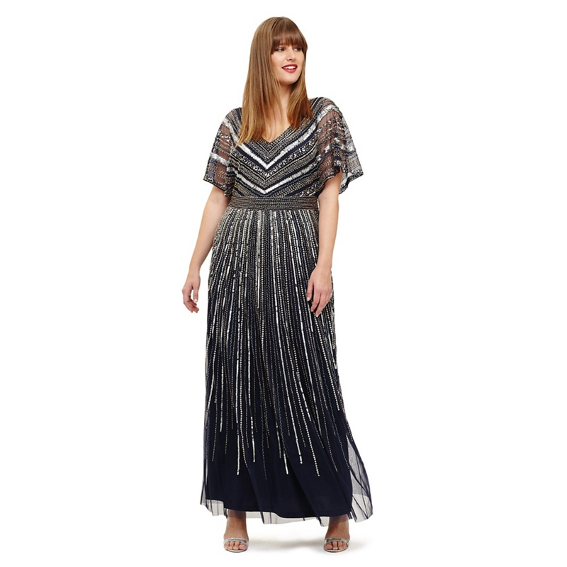 1166019897f Studio 8 - Sizes 12-26 Navy Avalon Beaded Maxi Dress