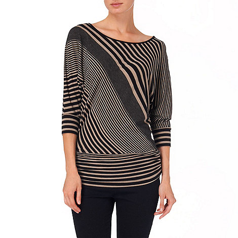Phase Eight - Black and Oatmeal diagonal stripe dana top
