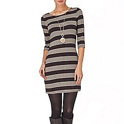 Phase Eight - Chocolate and Stone stripe spot tunic