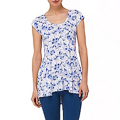 Phase Eight - Periwinkle and White floral tegan cap sleeve top