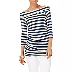 Phase Eight - Navy/Ivory stripe bernie bardot top