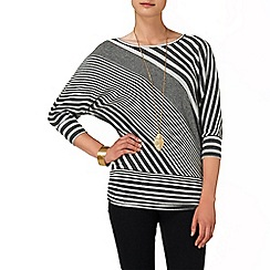 Phase Eight - Charcoal and Grey diagonal stripe dana top