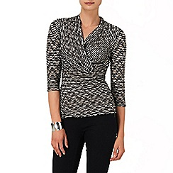 Phase Eight - Black and Cream delta wrap top