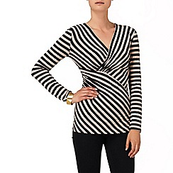 Phase Eight - Black and camel ellie stripe top