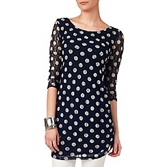 Phase Eight - Navy and grey spot lace tunic