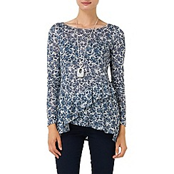 Phase Eight - Navy and Grey floral faryl frill top