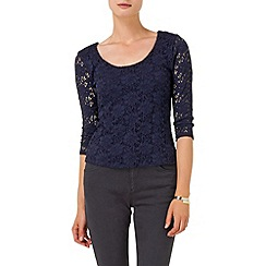 Phase Eight - Navy lillie lace scoop neck top