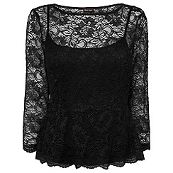 Phase Eight - Black peplum lace top