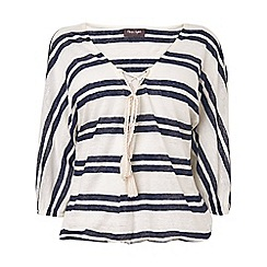 Phase Eight - Navy and ivory jenny stripe blouson top
