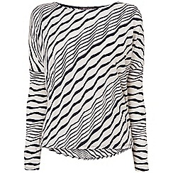 Phase Eight - Navy and Ivory teresa textured stripe top