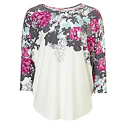 Phase Eight - Ivory and Pink eleonora print top