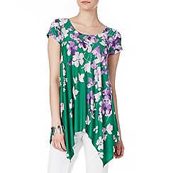 Phase Eight - Green and Multi violet floral longline top