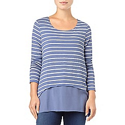 Phase Eight - Pitch Blue and White ciera layered stripe top