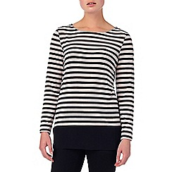 Phase Eight - Black and Pink sandie stripe woven hem top