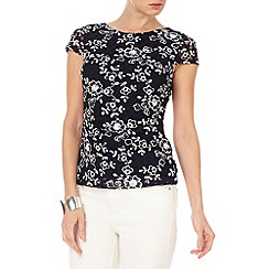 Phase Eight - Navy and Ivory lotty lace top