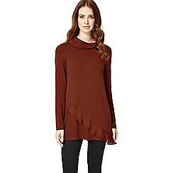 Phase Eight - Tobacco woven hem roll neck top
