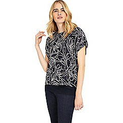 Phase Eight - Navy and ivory cecily jacquard double layer top