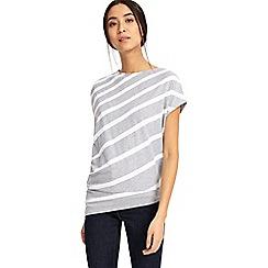 Phase Eight - Grey and white amy asymmetric stripe top