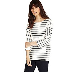 Phase Eight - Ivory and Navy trish textured stripe top
