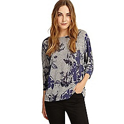 Phase Eight - Grey and blue Selena slinky floral top