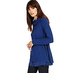 Phase Eight - Airforce Winnifred woven hem cowl neck top