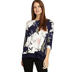 Phase Eight - Navy and multi-coloured bertha floral print top