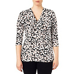 Studio 8 - Sizes 16-24 Black and camel victoria cherry print top